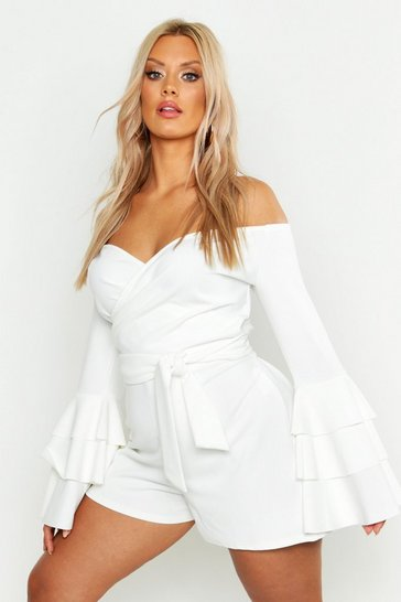 White Plus Off Shoulder Wrap Flare Sleeve Playsuit