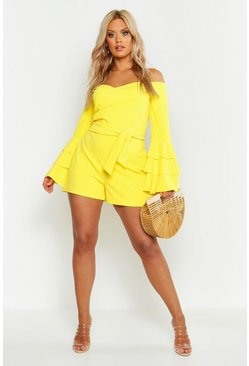 Womens Yellow Plus Off Shoulder Wrap Flare Sleeve Playsuit