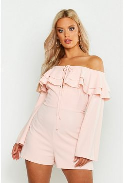 Womens Blush Plus Off Shoulder Ruffle Flare Sleeve Playsuit