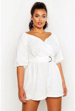 White Plus Linen Mix Bardot Belted Playsuit