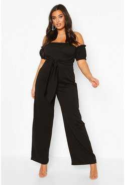 Black Plus Off Shoulder Tie Front Wide Leg Jumpsuit