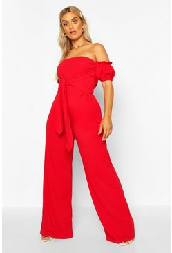 Womens Red Plus Off Shoulder Tie Front Wide Leg Jumpsuit