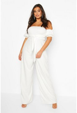 White Plus Off Shoulder Tie Front Wide Leg Jumpsuit