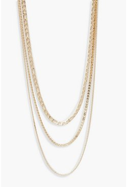 Womens Gold Plus Choker Layered Necklace