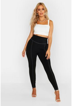 Formende Plus High-Waist Leggings mit Kontrastnähten, Schwarz, Damen