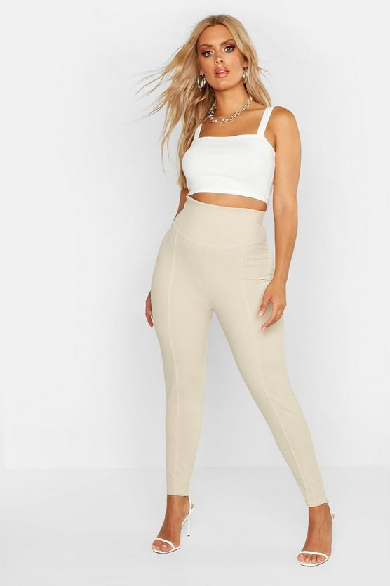 Womens Stone Plus Contrast Stitch High Waist Sculpt Legging