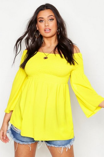Womens Yellow Plus Shirred Off Shoulder Smock Top