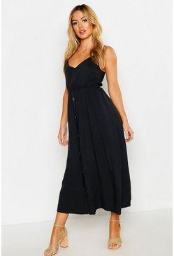 Womens Black Petite Horn Button Strappy Sun Dress