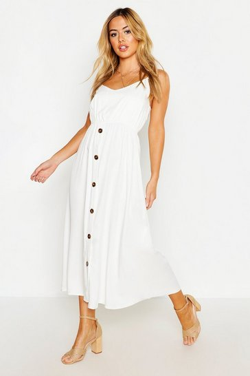 Womens White Petite Horn Button Strappy Sun Dress