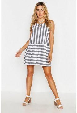 Black Petite Tie Detail Stripe Smock Dress