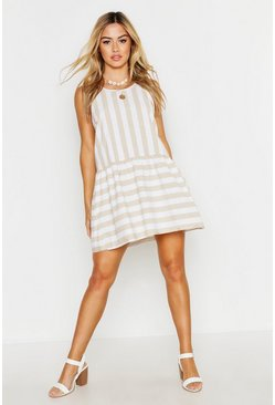 Womens Stone Petite Tie Detail Stripe Smock Dress