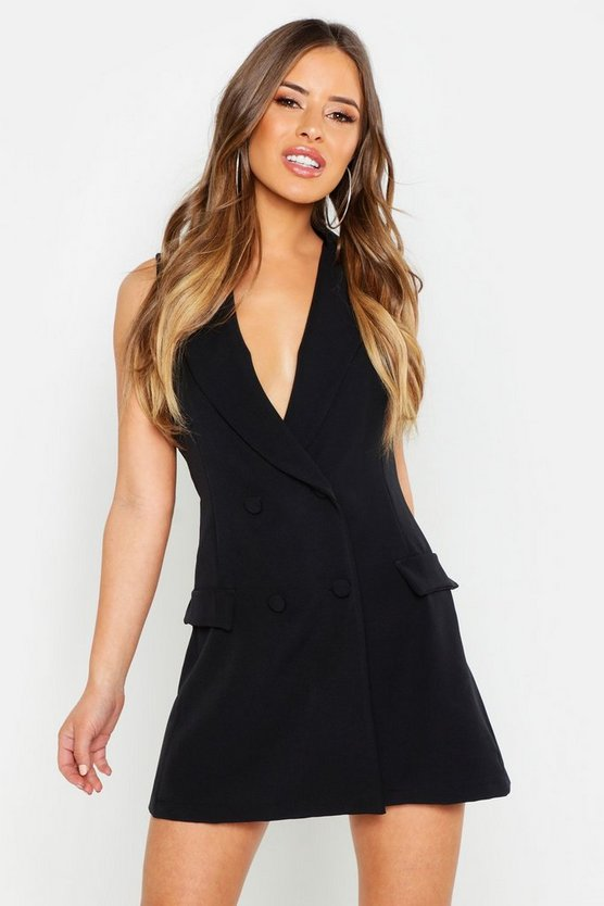 Womens Black Petite Sleeveless Double Breasted Blazer Dress
