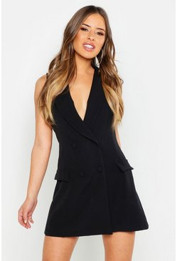 Petite Sleeveless Double Breasted Blazer Dress, Black, ЖЕНСКОЕ