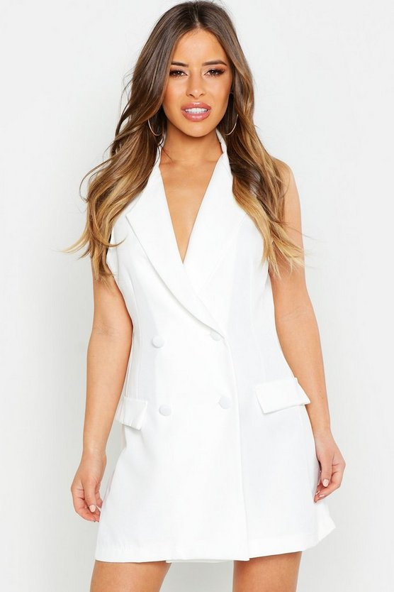 Petite Sleeveless Double Breasted Blazer Dress, White, ЖЕНСКОЕ