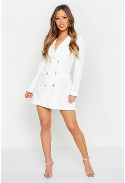 Womens White Petite Button Through Blazer Dress