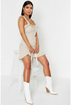 Womens Stone Petite Ruffle Strap & Hem Linen Look Mini Dress