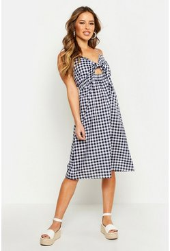 Petite Tie Front Gingham Midi Dress, Black, ЖЕНСКОЕ