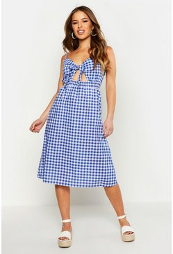 Womens Blue Petite Tie Front Gingham Midi Dress