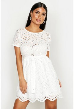 Womens White Petite Broderie Anglaise Skater Dress