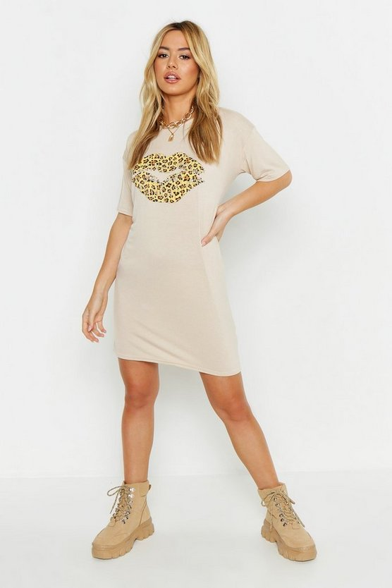 Petite Leopard Print Lip T-Shirt Dress, Stone, ЖЕНСКОЕ