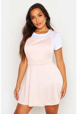 Womens Blush Petite Cross Back Pinafore Dress