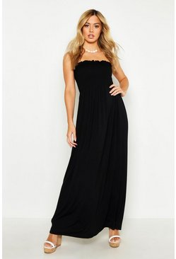 Black Petite Shirred Bandeau Maxi Dress