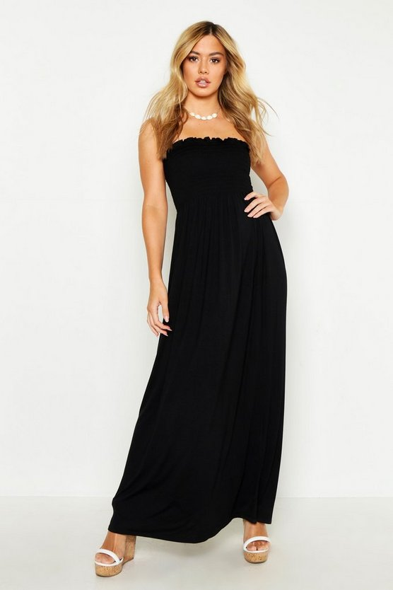 Womens Black Petite Shirred Bandeau Maxi Dress