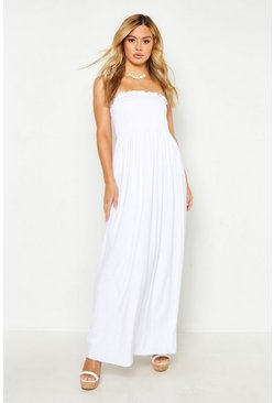 White Petite Shirred Bandeau Maxi Dress