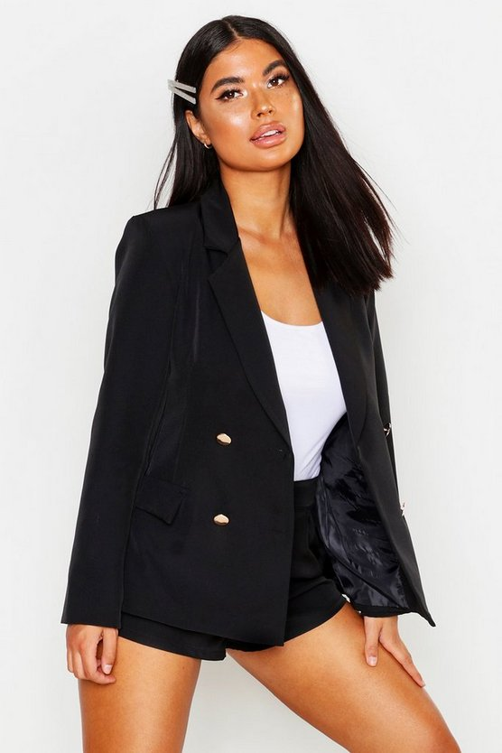 Womens Black Petite Double Breasted Military Blazer