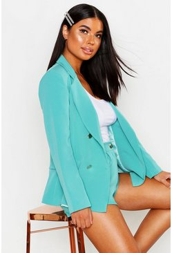 Teal Petite Double Breasted Military Blazer