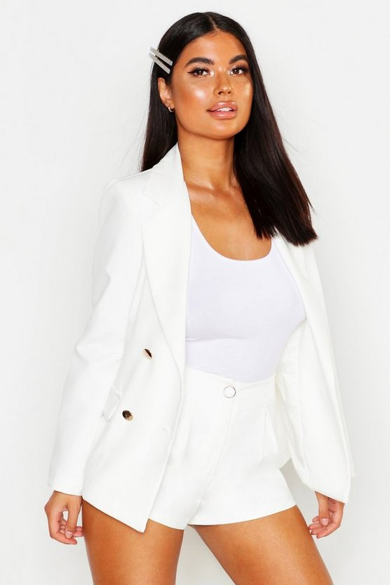 Womens White Petite Double Breasted Military Blazer