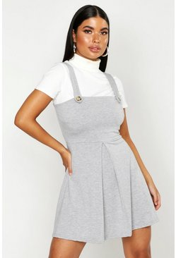 Womens Grey Petite Jersey Skater Pinafore Dress
