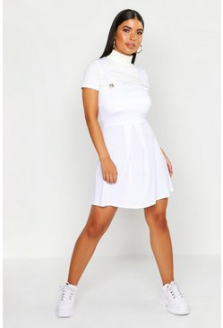 Womens White Petite Jersey Skater Pinafore Dress