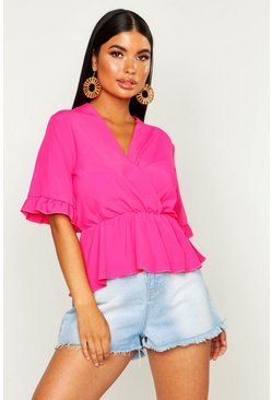 Womens Hot pink Petite Wrap Ruffle Sleeve Peplum Hem Blouse