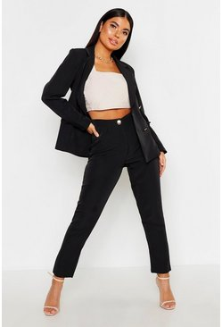 Womens Black Petite Tailored Trousers