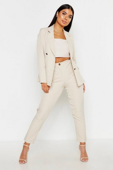 Womens Stone Petite Tailored Trousers