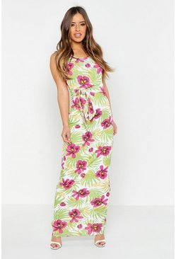 Womens Green Petite Floral Palm Scoop Neck Maxi
