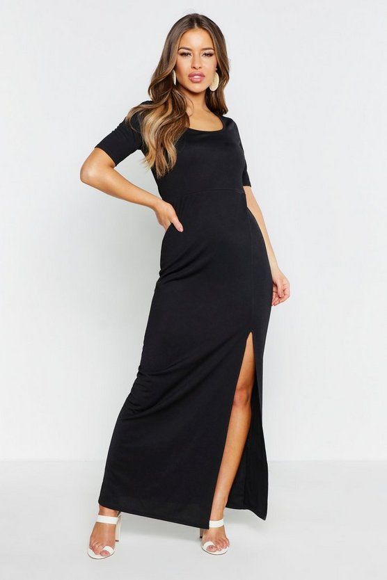 Womens Black Petite Cap Sleeve Maxi Dress