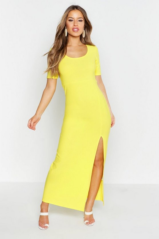 Womens Yellow Petite Cap Sleeve Maxi Dress