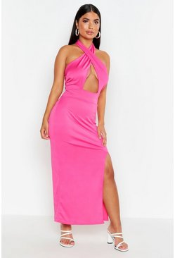 Womens Hot pink Petite Twist Halter Neck Split Maxi Dress