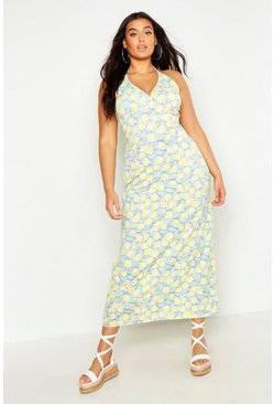 Womens Blue Plus Lemon Plunge Halter Maxi Dress