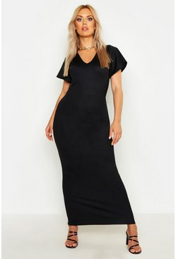 Black Plus V Neck Maxi Dress