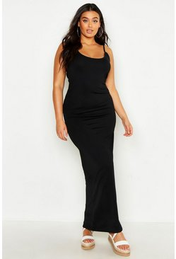 Womens Black Plus Strappy Maxi Dress