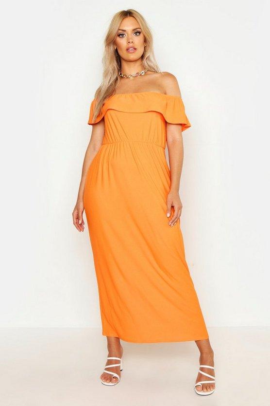Plus Bardot Ruffle Maxi Dress by Boohoo