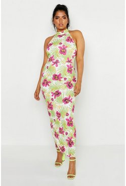 Womens Green Plus Floral Palm Maxi Dress