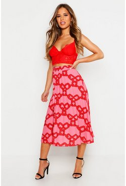 Womens Pink Petite Chain Print Pleated Midi Skirt