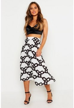 Dam White Petite Chain Print Pleated Midi Skirt