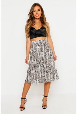 Womens Stone Petite Snake Print Pleated Midi Skirt