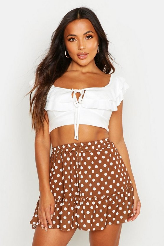 Womens Tan Petite Spot Skater Skirt
