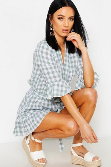 Womens Sage Petite Wrap Ruffle Gingham Playsuit